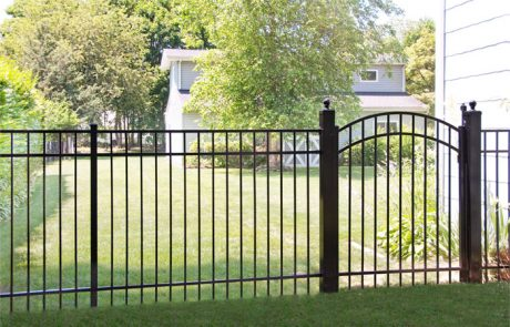 Black Aluminum Fencing in yard
