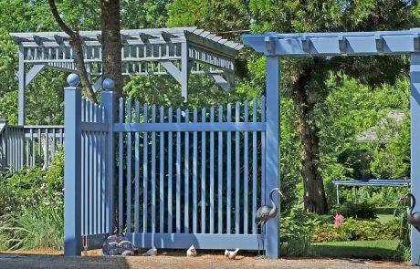 Blue PVC fencing & pergolas