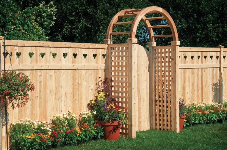 Wood Fence with Arbor Gate